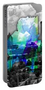Atlanta Map And Skyline Watercolor Portable Battery Charger
