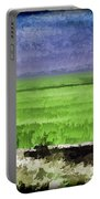 Green Fields With Birds Portable Battery Charger