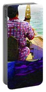 Lady Sleeping While Boatman Steers Portable Battery Charger