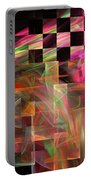 Abstract Checkered Pattern Fractal Flame Portable Battery Charger