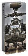 Ah-64 Apache Helicopter On The Runway Portable Battery Charger