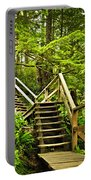 Path In Temperate Rainforest Portable Battery Charger