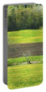 Spring Farm Landscape With Dandelion Bloom In Maine Portable Battery Charger