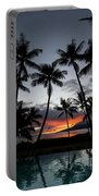 Silhouette Of Palm Trees At Dusk Portable Battery Charger