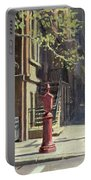 91st Street At Lexington Avenue Oil On Canvas Portable Battery Charger