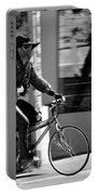 A Barefoot Cyclist With Beard And Hat In San Francisco Portable Battery Charger by RicardMN Photography