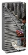 A Beggar On The U Bein Bridge Portable Battery Charger