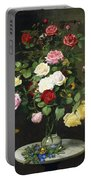 A Bouquet Of Roses In A Glass Vase By Wild Flowers On A Marble Table Portable Battery Charger