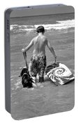 A Boy And His Dog Go Surfing Portable Battery Charger