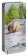A Buffalo Sits In Yellowstone Portable Battery Charger by Michele Myers