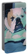 A Bulldog In Love Portable Battery Charger by Xueling Zou