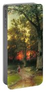 A Child Walks In A Forest Portable Battery Charger