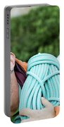 A Climber Holds Ropes Over Shoulder Portable Battery Charger