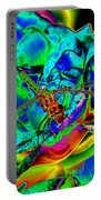 A Cosmic Dragonfly On A Psychedelic Rose Portable Battery Charger