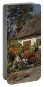 A Cottage Garden With Chickens Portable Battery Charger