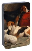 A Couple Of Foxhounds With A Terrier The Property Of Lord Henry Bentinck Portable Battery Charger