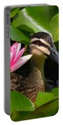 A Curious Duck And A Water Lily Portable Battery Charger