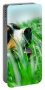A Cute Dog In The Grass Portable Battery Charger