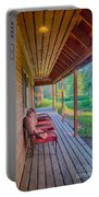 A Deck By The Methow River At Cottonwood Cottage Portable Battery Charger