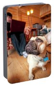 A Dog Stands At The Feet Of Its Owner Portable Battery Charger