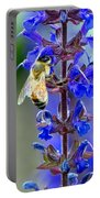 A European Honey Bee And It's Flowers Portable Battery Charger