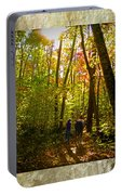 A Fall Walk With My Best Friend Portable Battery Charger