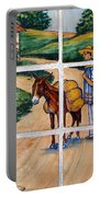 A Farm Scene On Plaza Tiles Portable Battery Charger