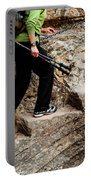 A Female Hiker Walking Up Steps Chopped Portable Battery Charger