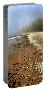 A Foggy Day At Pier Cove Beach 2.0 Portable Battery Charger by Michelle Calkins