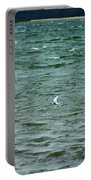 A Forster Tern Fighting The Winds Out At Sea Portable Battery Charger