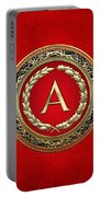 A - Gold Vintage Monogram On Red Leather Portable Battery Charger