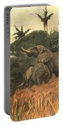 A Herd Of Elephants By Moonlight Portable Battery Charger