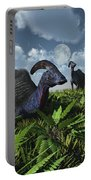 A Herd Of Herbivorous Parasaurolophus Portable Battery Charger