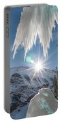 A Man Ice Climbing Louise Falls Portable Battery Charger