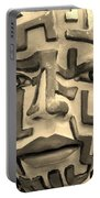 A Maze Ing Face 1 Sepia Portable Battery Charger
