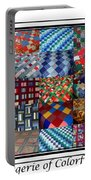A Menagerie Of Colorful Quilts Triptych Portable Battery Charger