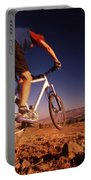 A Mountain Bike Rider On A Ride Portable Battery Charger