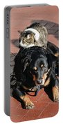 A Mouse On A Cat On A Dog In Santa Portable Battery Charger