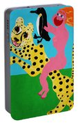 A Naked Woman Holding A Penguin Portable Battery Charger