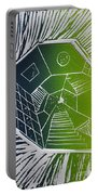 A New Dimension Blue And Green Linocut Portable Battery Charger