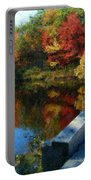 A Painting Autumn Lake And Bridge Portable Battery Charger