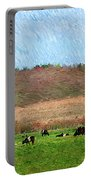A Painting Cows Grazing And Newport Bridge Portable Battery Charger