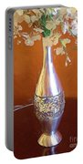 A Painting Silver Vase On Table Portable Battery Charger
