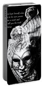 A Picture Of A Venitian Mask Accompanied By An Oscar Wilde Quote Portable Battery Charger