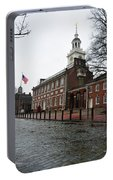 A Rainy Day At Independence Hall Portable Battery Charger