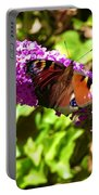 A Red Admiral On A Purple Budlier Portable Battery Charger