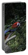 A Red Green And Blue Macaw On A Branch In The Jurong Bird Park Portable Battery Charger