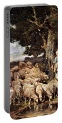 A Shepherdess With Her Flock Near A Stream Portable Battery Charger