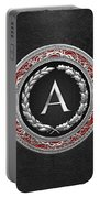 A - Silver Vintage Monogram On Black Leather Portable Battery Charger