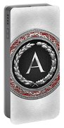 A - Silver Vintage Monogram On White Leather Portable Battery Charger